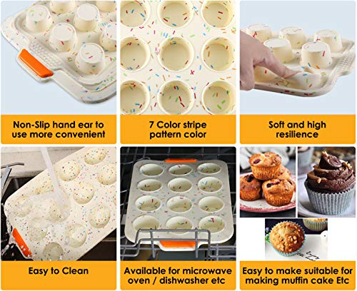 Silicone Loaf Pan for Baking Bread Bakeware Pan Set with Reinforced Steel Frame Inside Non-Stick Long Cake Pan 12-cup Muffin Cups Set Steel Frame Inside Dishwasher Microwave Safe Reusable 5 Pack