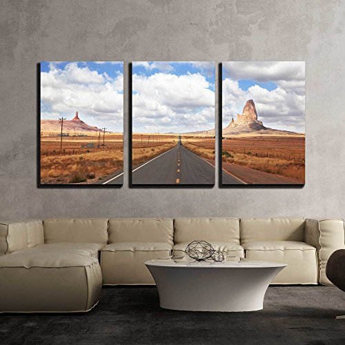 Gorgeous American Highway Monument Valley in Utah on a Cloudy Windy Day x3 Panels