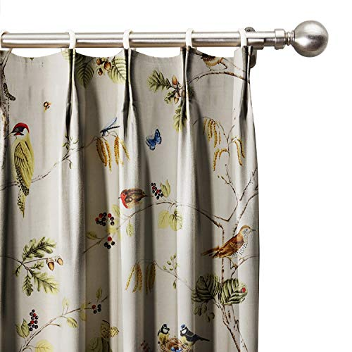 Pinch Pleated Brown Drapes - ChadMade Rural Pastoral Print Window Curtain 50