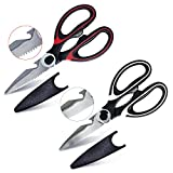 Buy1Get1 Ultra Sharp Premium Heavy Duty Kitchen Shears Stainless Steel Multipurpose Scissors Red, Black Set 2 Different Designs: Poultry, Meat, BBQ, Vegetables, Fish, Nut/Crab Cracker, Bottle Opener.