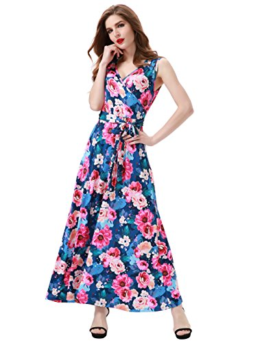 Maxi Dress Floral Silk (Aphratti Women's Bohemian Sleeveless V Neck Wrap Front Maxi Long Dress Small Navy Floral)