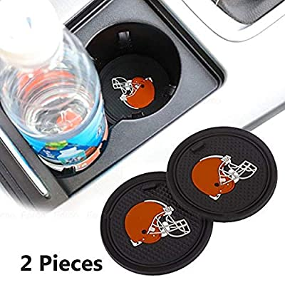 Fujun Upgraded 2 Pcs 2.75 inch for Cleveland Browns Car Interior Accessories Anti Slip Cup Mat for All Vehicles(Cleveland Browns): Automotive