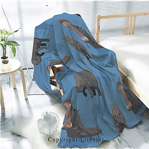 AngelSept Printed Throw Blanket Smooth and Soft Blanket,Cute Hippopotamus Wallpaper for Sofa Chair Bed Office Travelling Camping,Kid Baby,W31.5 x H47.2 (Hippopotamus Sofa)