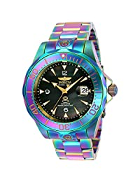 Invicta Men's 47mm Grand Diver Automatic Iridescent Black Mother Of Pearl Dial Stainless Steel Bracelet Watch