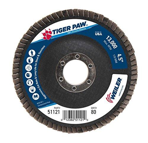 Weiler 51121 Tiger Paw High Performance Abrasive Flap Disc, Type 29 Angled Style, Phenolic Backing, Zirconia Alumina, 4-1/2