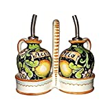 CERAMICHE D'ARTE PARRINI - Italian Ceramic Set Oil Cruet Vinegar Art Pottery Hand Painted Made in ITALY Tuscan