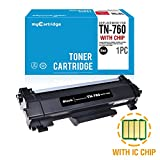 MYCARTRIDGE (with CHIP) Compatible Replacement for Brother TN760 Black Toner Cartridge 1-Pack High Yield High Capacity Fit for HL-L2350DW HL-L2395DW DCP-L2550DW MFC-L2710DW Printer