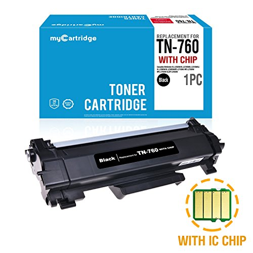 MYCARTRIDGE (WITH CHIP) Compatible Replacement for Brother TN760 Black Toner Cartridge 1-Pack High Yield High Capacity Fit for HL-L2350DW HL-L2395DW DCP-L2550DW MFC-L2710DW ()
