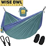 Wise Owl Outfitters Hammock for Camping Single & Double Hammocks Gear For The Outdoors Backpacking Survival or Travel - Portable Lightweight Parachute Nylon SO Green & Blue