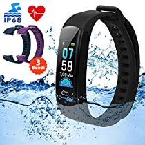 DETUOSI Fitness Tracker, Activity Tracker, Color Screen Smart Watch with Heart Rate Monitor, Sleep Monitor, Calorie Counter, Step Counter, IP68 Waterproof Pedometer Watch Smart Band for Kids WomenMen