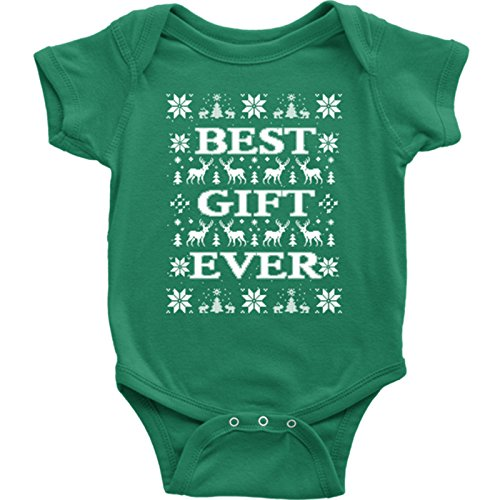 JUMPMAN Best Gift Ever Christmas Onesie. Ugly Christmas Vacation Bodysuit. Christmas Ugly Sweater Style for Toddler. Coolest Newborn Christmas Gift. (6M, Green) for $<!--$15.95-->