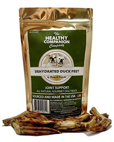 The Healthy Companion Company Dehydrated Duck Feet All Natural Dog Treats | Grain-Free Gourmet, Supports Joint Health | Improves Teeth and Gum Health | (Duck Feet, 25 Count)