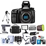 Sony Alpha a68 Digital SLR Camera Body - Bundle with Camera Case, 64GB SDXC U3 Card, Spare Battery, Tripod, Video Light, Shotgun Mic, Cleaning Kit, Memory Wallet, Software Package and More