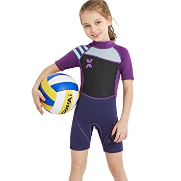 f45674380bbb5 SunFlower 2.5MM Girls Swimsuits Long Sleeve One Piece UV Protection Thermal Wetsuits  for Scuba Diving