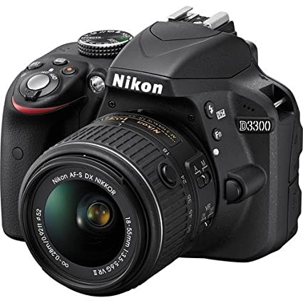 Nikon D3300 24.2 MP CMOS Digital SLR with Auto Focus S DX NIKKOR 18 55 mm f/3.5 5.6 g VR II Zoom Lens  Black   International Version Digital Cameras
