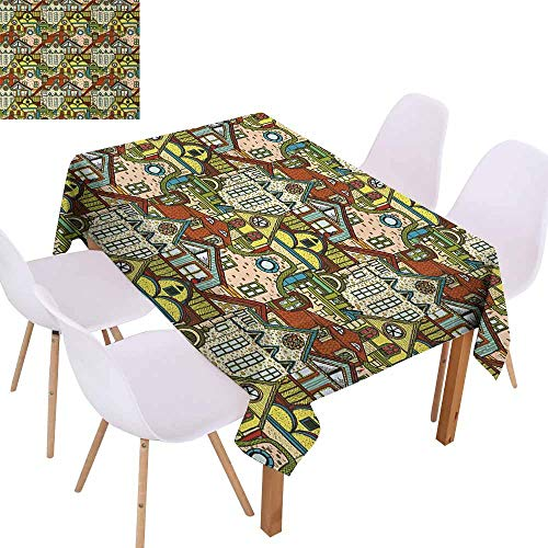 UHOO2018 Retro,Rectangle Tablecloth,Hand Drawn Old City in Colorful