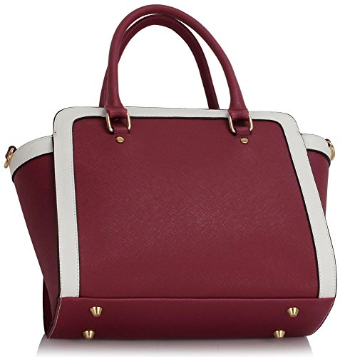 Medium White Tote Shoulder New Handbags Leather Size Design Style Ladies Bags Womens Burgundy 1 Celebrity Faux qZwRYqg