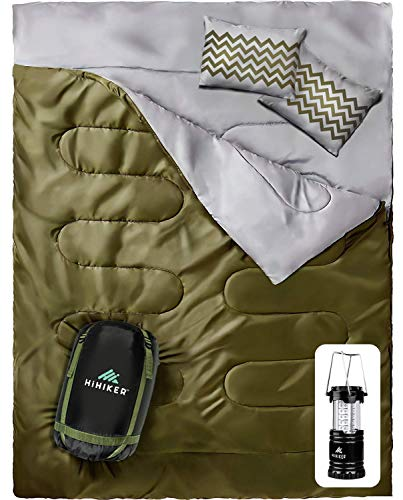 - HiHiker Double Sleeping Bag Queen Size XL - Bonus Camping Light - for Camping, Hiking Backpacking and Cold Weather, Portable, Waterproof and Lightweight - 2 Person Sleeping Bag for Adults and Teens