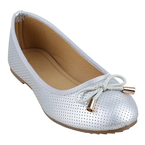 Stiefelparadies Klassische Damen Ballerinas Flats Leder-Optik Lack Metallic Schuhe Glitzer Slipper Slip Ons Übergrößen Abiball Flandell Silber Gold