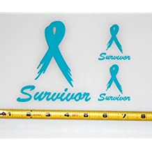 Ovarian Cancer Survivor Ribbon- Single Color Set of 3 HQ High Gloss Turquoise / Teal Vinyl Decals!