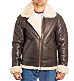 Mens Brown Aviator B3 Real Shearling Sheepskin Classic Pilot WW2 Flying Jacket With Cream Sheepskin