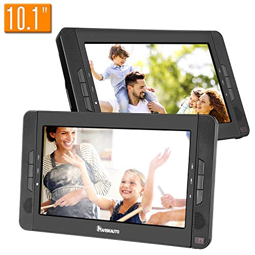 NAVISKAUTO 10.1″ Dual Screen Portable DVD Player on Car Headrest with Built-in Rechargeable Battery, USB Port, SD Card Slot and Remote Control(Dual DVD Player)