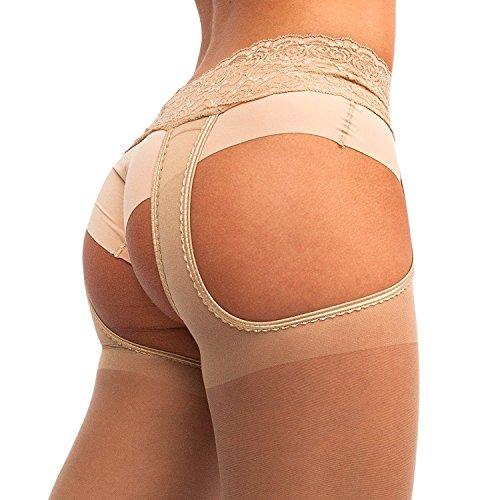 Suspender Tights Mock Stockings Garter Belt Pantyhose Veneziana Sexy Strip Black Beige Brown (Hosiery Sexy)