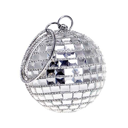 Bag Birthday Diagonal Meeting Ladies Party Wedding Silvery Party Evening Clutch For Shoulder Fashion Spherical Annual encrusted Diamond pnqREwPOR