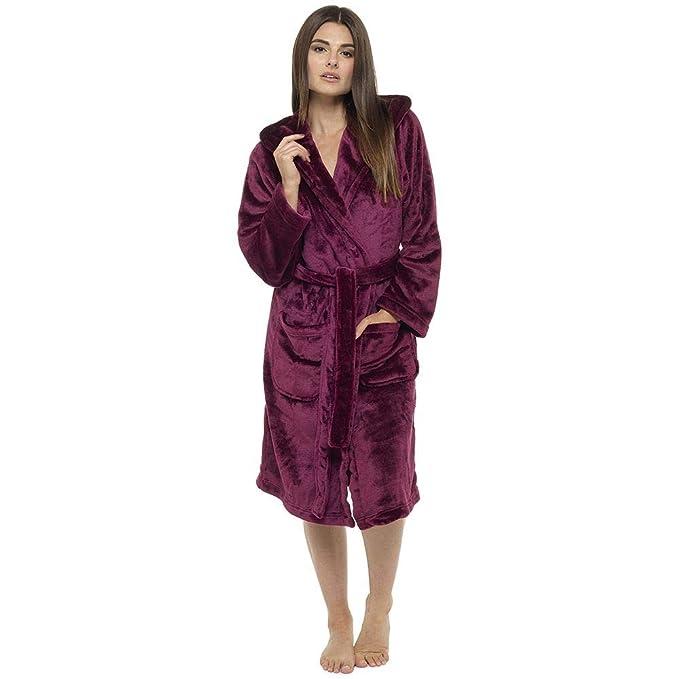 Undercover Lingerie Ltd Batas para mujer Foxbury Luxury Soft Coral Fleece Shimmer con capucha, baya gris o rosa: Amazon.es: Ropa y accesorios