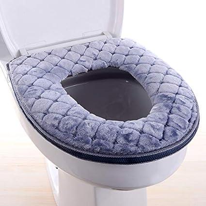 /épaissir Fermeture /Éclair pour abattant WC doux Coussin de si/ège de toilette 37x43cm gris Abattant WC