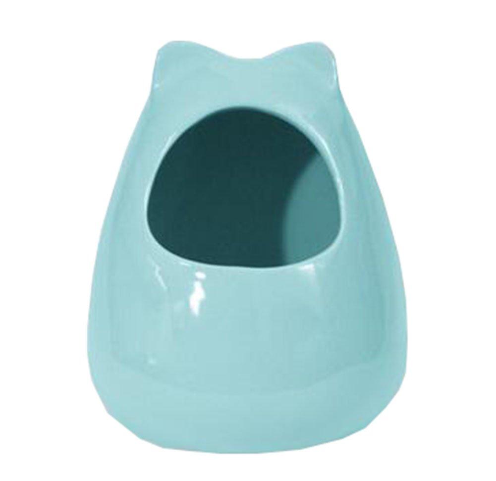 George Jimmy Pet Supplies Small Animals Habitat Decor Hamster House/Little Chinchilla Habitat/Ceramic Cottage 18x22CM (Blue)