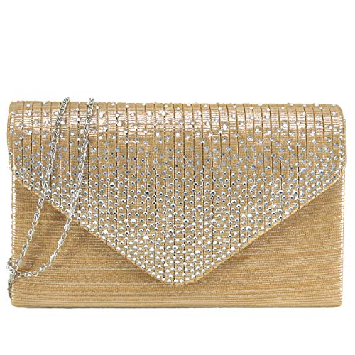 - Dasein Women Evening Envelope Handbag Party Prom Clutch Purse Shoulder Cross Body Bag (Gold)