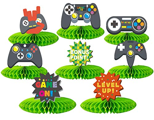 8 Pieces Video Game Honeycomb Centerpieces, 3D Video Game Table Decorations for Boy and Kids Video Game Themed Birthday…