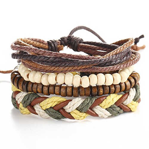 PU Leather Bracelet Adjustable Charms Beaded Multi-Strands Wrap Bracelets (geometric(4pcs)) ()