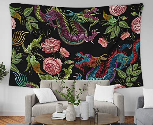 Asdecmoly Tapestry Printing Wall Hanging Tapestries for Living Room and Bedroom 80 L x60 W Inches Embroidery Chinese Dragons Flowers Peonies Pattern Classical Embroidery Asian Art Printing Inhouse
