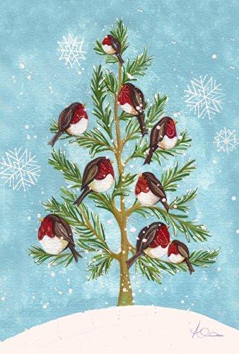 Toland Home Garden Bird Branches 28 x 40 Inch Decorative Cute Winter Snowflake House Flag]()
