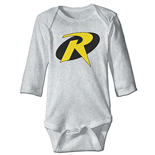 Batman Robin R Super Hero Logo Kids Baby Long-sleeve Jumpsuit Ash (Robin Outfit For Babies)