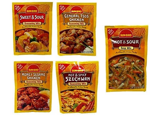 Sun-Bird No MSG Added Asian Seasoning and Soup Mix 5 Flavor Variety Bundle, 1 each: Hot & Spicy Szechuan, General Tso's Chicken, Sweet & Sour, Honey Sesame Chicken, Hot & Sour Soup (.75-1.34 Ounces)