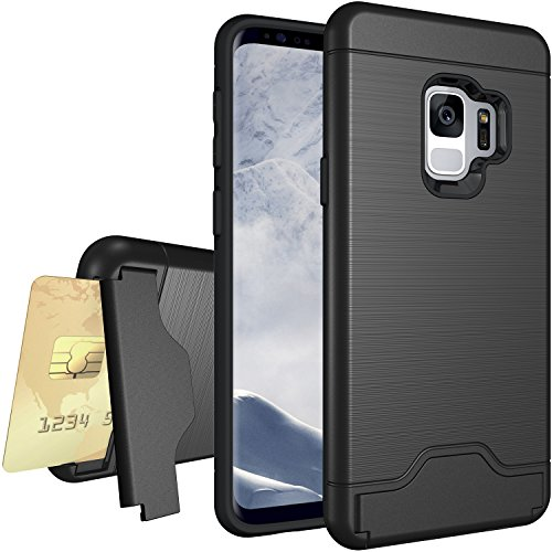 PEYOU Compatible for Samsung Galaxy S9 Case, Slim Rugged Protective Case Cover with [Card Slot] and Kickstand, Heavy Duty Armor Hybrid Defender Dual Layer Shock Absorption Wallet Case-Balck