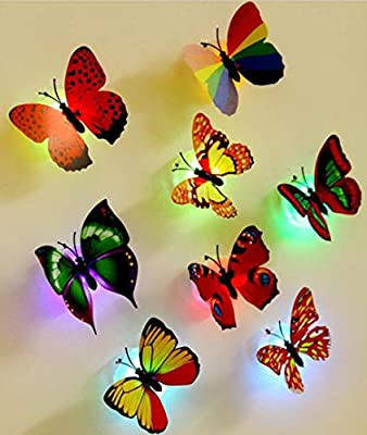 10 Pcs Wall Stickers Butterfly LED Lights Wall Stickers,Basde Removable Mural Crafts Art Design Decal Wall Colorful Light 3D Simulation Butterfly Luminous Wall Stickers House Kid Bedroom Decoration