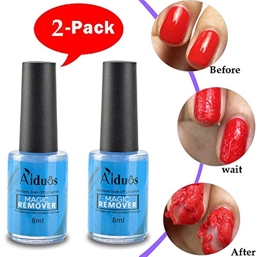 2 Pcs Magic Nail Polish Remover Soak-Off Gel Polish Remover Professional Removes Soak-Off Gel Polish In 2-5 Minutes Easily & Quickly Don't Hurt Your Nails ()