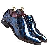 Men Fashion Shoes Dress Pointed Toe Floral Patent Leather Lace Up Oxford by Santimon Blue 12 D(M) US