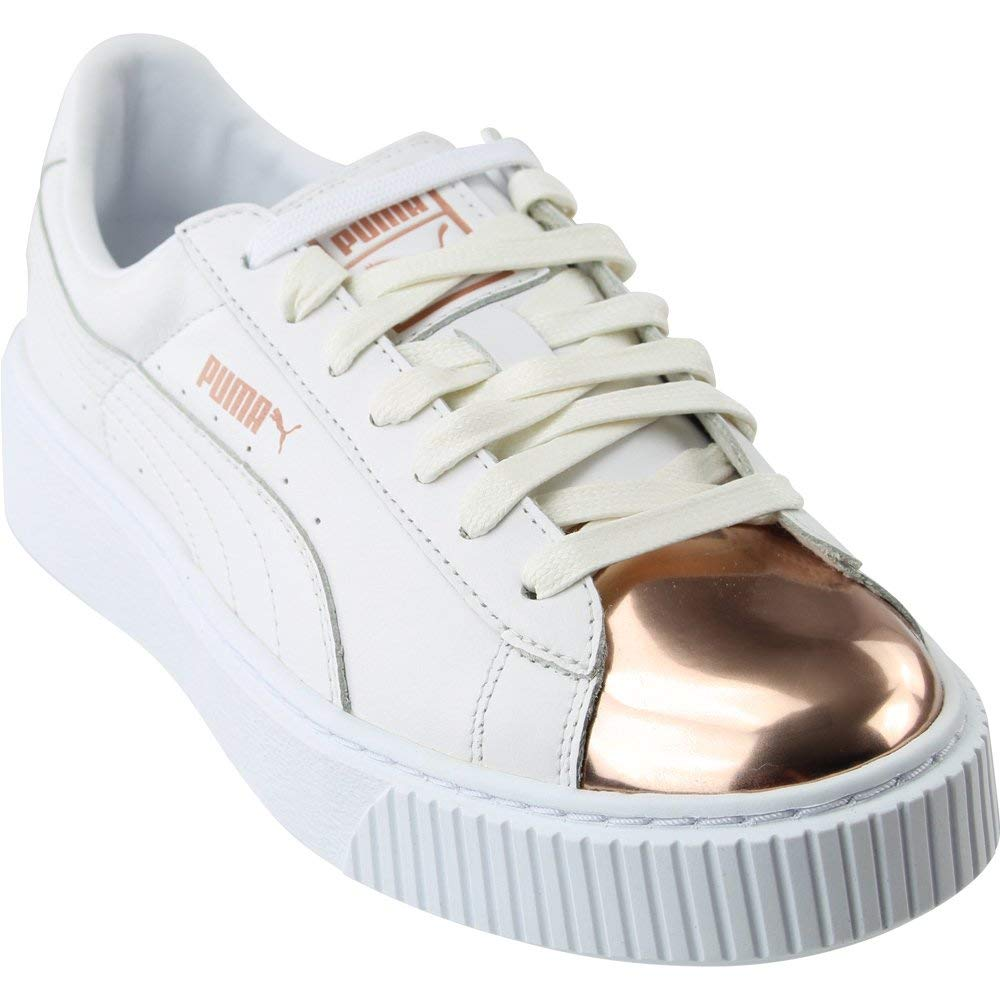wholesale dealer c23be b4ff9 PUMA Women's Basket Platform Metallic, White-Rose Gold, 8 M US
