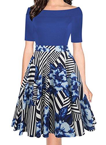oxiuly Women's Vintage Off Shoulder Pockets Casual Floral