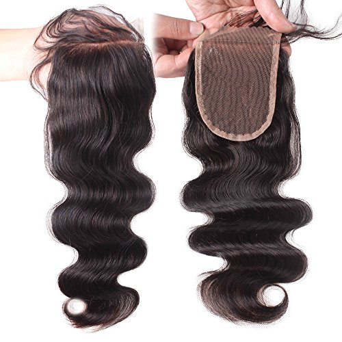 Elva Hair Remy Human Hair Body Wave Lace Top Closure 3.5x4 Natural Color 8''-18'' (10inch) (Invisible Part Body Wave compare prices)