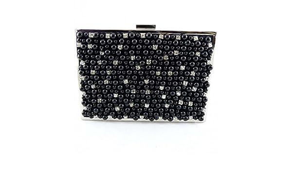 LOOKAT - Carteras de Mano, Bolso de Fiesta, gala retro, Perlas Cannes elegante, exclusivo (Negro): Amazon.es: Zapatos y complementos