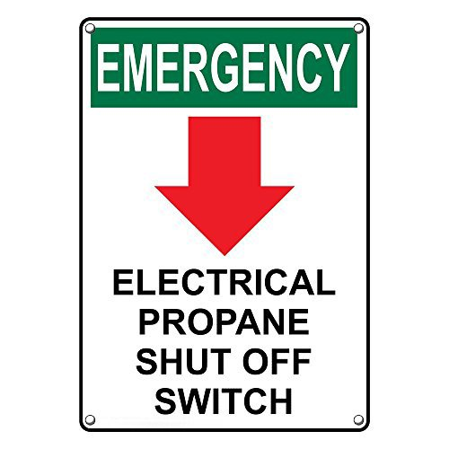 Weatherproof Plastic Vertical OSHA Emergency Electrical Propane Shut Off Switch Sign with English Text and Symbol (Symbol Switch)