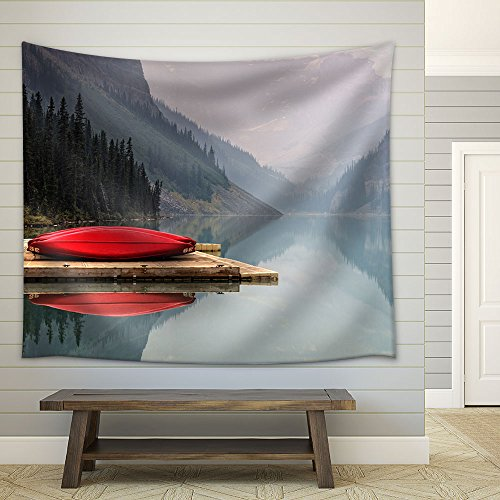 Mountain Landscape a Red Boat in the Lake Fabric Wall