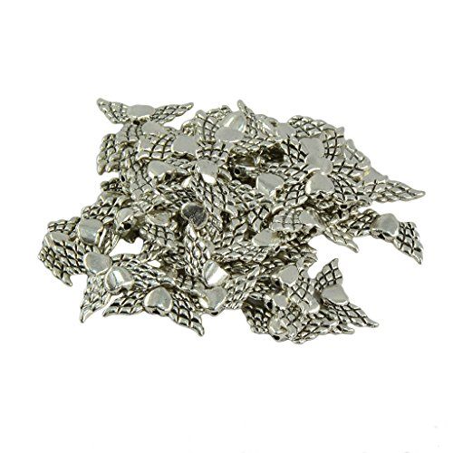 Baosity 50 Pieces Wholesale Antique Silver Heart Angel Wing Jewelry DIY Making Necklace Earring Bracelet Beads -