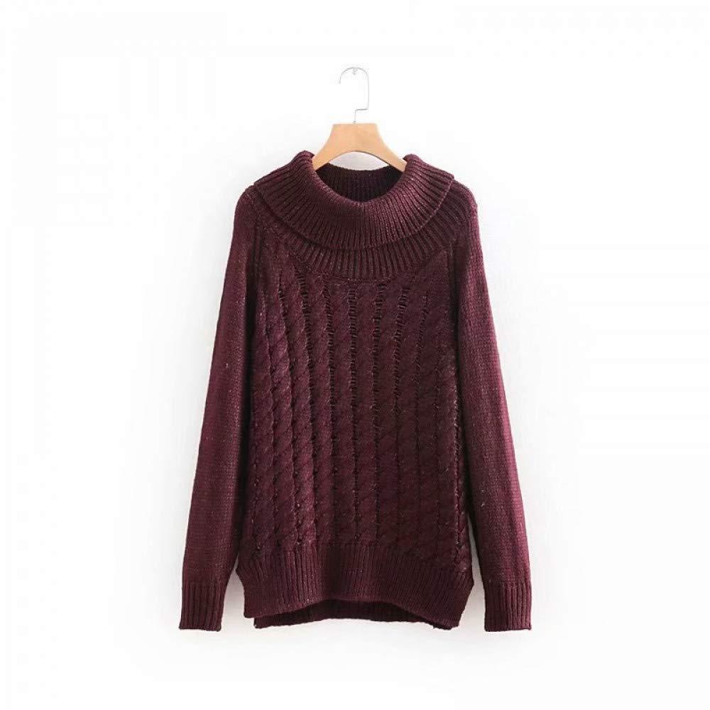 FUHENGMY Pullover Rollkragen Langarm Pullover Herbst Mode Frauen Solide Strickpullis Casual Übergroßen Streetwear